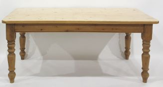 20th century pine rectangular table on four turned supports, the top 181cm x 90cm