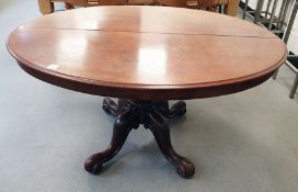 Victorian oval table with moulded edge, turned baluster central column to four cabriole legs,