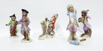 Meissen porcelain five piece monkey band, four animals playing an instrument and one singing, all on