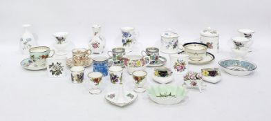 Graingers Worcester Spode china cabinet cup and saucer, floral painted, set of four Worcester bird