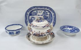 19th century Copeland late Spode earthenware soup tureen, circular, two-handled and footed, with