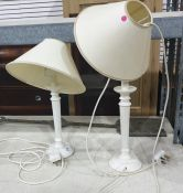 Pair cream painted wooden table lamps with shades