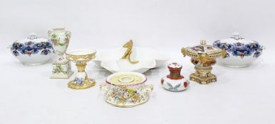 Early Victorian ceramic inkwell, circular and waisted, two handled and applied floral clusters,