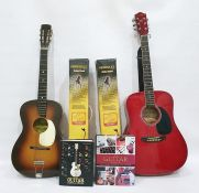 Earthfire summer breeze GA 1000 RD acoustic guitar together with a Varsity acoustic guitar and two