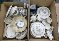 Two boxes of mixed chinato include Royal Doulton 'Fairfield' part dinner and tea ware, etc