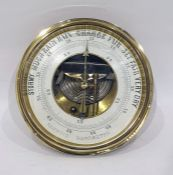Copper and brass cased circular aneroid barometer 18cm dia
