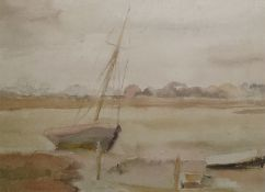 "Bernard Adeney (1878-1966) Watercolour and pencil drawing  ""Boat at Chichester Harbour"", label verso"
