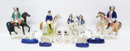 Assorted Staffordshire flatbacks to include D Turpin, T King, pair of sheep, etc (12)