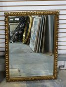 Rectangular bevel edge mirror with gilt frame, with gadroons