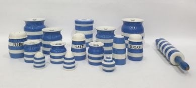Large quantity of Green's Cornish kitchenware to include eight graduated storage jars in various