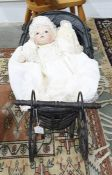 Reproduction Victorian style metal and cane doll's