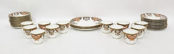 Royal Crown Derby tea service for 12 persons, Imari pattern and decorated in red, blue and gilt,