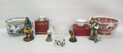 """Royal Doulton pottery figure """"The Mask Seller"""", another """"The Puppetmaker"""", another """"River Boy"""" and"""