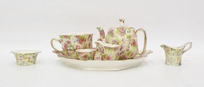 """Royal Winton Chintzwareearly morning tea set for one """"Shrewsbury"""" pattern and two pieces Royal"""