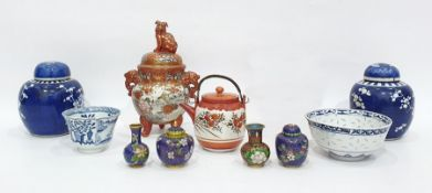 Japanese Kutani porcelain bowl and cover, having temple dog finial, pair scroll handles and