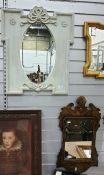 Oval mirror within a grey painted carved frame, 72cm x 54cm approx together with an 18th century
