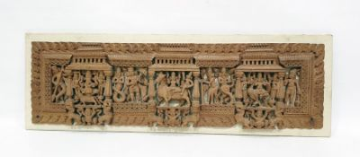 Indian-style relief carved panelwith various figures and beasts Condition ReportThe dimensions