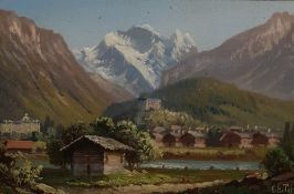Pair oils under glass  Swiss mountain scenes, indistinctly signed lower right (2)