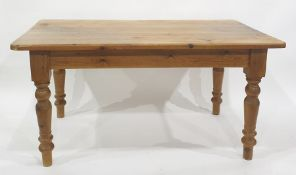 Pine rectangular table on four turned supports to peg feet, 151.5cm x 82cm