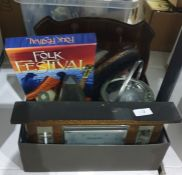 1940's barometer, a wooden and metal biscuit barrel, a clothes brushand other items (1 box)