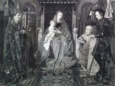 After Jan van Eyck Eugene Gaujean (1850-1900) Black and white print 'From the Altar of the Canon van