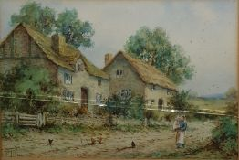 H Lilian Watercolour drawing  Rustic scene with thatched cottages with girl holding a baby,