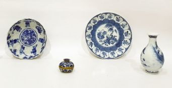 Chinese porcelain baluster vasepainted in underglaze blue with lakeside landscape, fisherman and