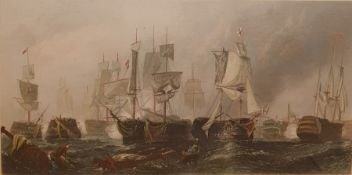 Three prints to include After C Stanfield, coloured engraving, 'The Battle of Trafalgar', and two