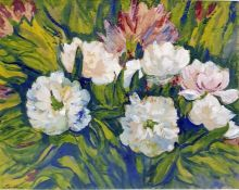 "Jacob Epstein (1880 - 1959) Watercolour and gouache drawing ""Peonies"", signed lower left and"