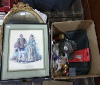 Christmas decorations, framed print, mirror within  gilt frame, quantity of bedlinen