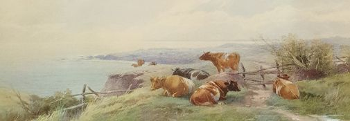 Unattributed Watercolour drawing Cattle grazing and resting on a coastal path, 18cm x 51cm (framed