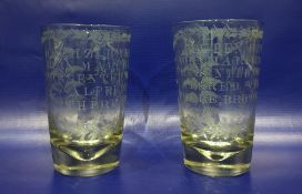 Pair of 19th century glasses inscribed 'Hephzibah Hunt, Born March 3 1837 Presented to them by
