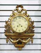 Swedish clockby SUD of Stockholm, with Arabic numerals to the dial and brass pierced hands, in an