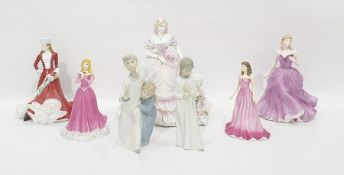 """Lladro porcelain group of two children in nightshirts with candle, Coalport porcelain figure """"Secret"""