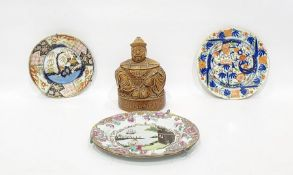 Copeland and Garrett late Spode earthenware plate decorated with chinoiserie style lakeside scene,