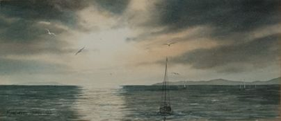 Small collection of mainly watercolours to include Margaret Phipps watercolour 'Moonlit Sea', signed