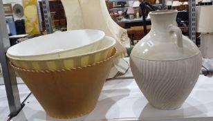 Large ceramic flagon/vase with single handle, ovoi