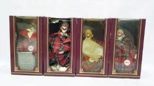 Four clownsin boxes