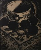 Charles W Swift (American, 1893-1947)(?) Linoprint Still life, plums and a bowl, circa 1930, 20cm
