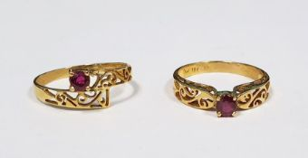 Two 18ct gold and ruby rings, each set single stone in pierced setting (2) Condition ReportThe