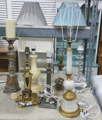 Various table lamps including a stepped, faceted glass table lamp, faux alabaster, painted wood etc.