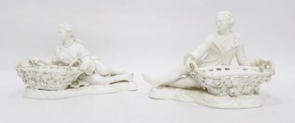 Pair Dresden porcelain sweetmeat holders, in the form of reclining lady and gentleman in 18th