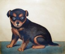 Naive school Watercolour drawing Study of a seated dog, 21cm x 25cm (in rosewood frame)  Condition