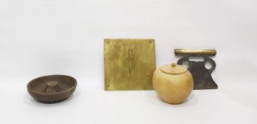 Assortment of items to include Britain's model animals, turned fruitwood ovoid lidded vase,