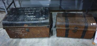 Two vintage metal trunks(2)