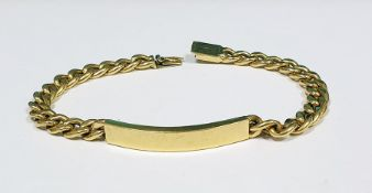 Gold-coloured metal identity bracelet, 15.6g approx