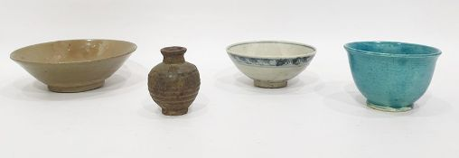 Early Chinese small bowl with blue scroll brown bands on a grey ground, 13cm dia., small turquoise