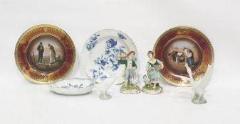 Two Lladro porcelain model birds, two underglaze blue decorated Meissen dishes (damaged), pair