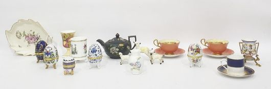 Victorian black basalt bachelor's teapot painted with naturalistic flowers in enamel, Aynsley