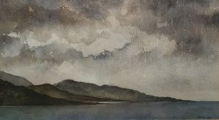 Forbes Watercolour drawing  Lake with mountains and stormy sky, signed lower right 'Forbes 89'